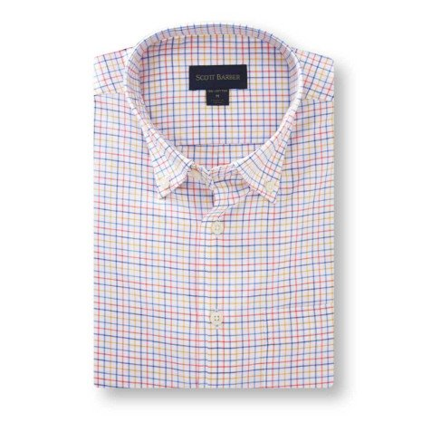 Scott Barber Essex Twill Multi Colored Check Shirt