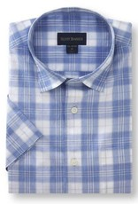 Scott Barber Chelsea Plain Weave Shirt in White, Melange Blue and Taupe