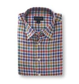 Scott Barber Linen Check Shirt in Multi-Colors