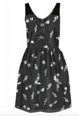 DEX DEX Feather/Floral Print Chiffon Dress