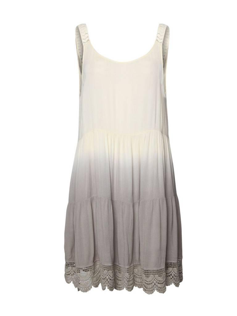 DEX DEX Ivory/Grey Dip Dye Peasant Dress