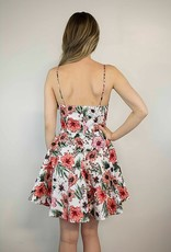 Lakefield Lakefield + Co. White Fit and Flare Floral Dress w/ Criss Cross V