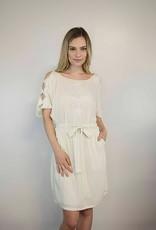 Lakefield Lakefield + Co. 'Layla' Cream Cut-Out Sleeve & Tie Waist Dress