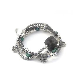 Well Dunn Well Dunn Stacked Silver Bracelets w/ grey and turquoise stone