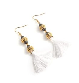 Well Dunn Well Dunn Gold Earrings w/ White tassels
