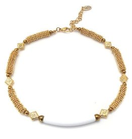 Well Dunn Well Dunn Short Beaded Necklace w/ white tube