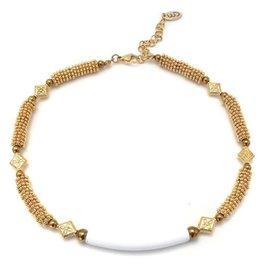 Well Dunn Well Dunn Short Beaded Necklace w/ white tube