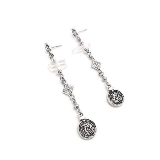 Well Dunn Well Dunn Long Silver Earrings w/ Quartz Stones