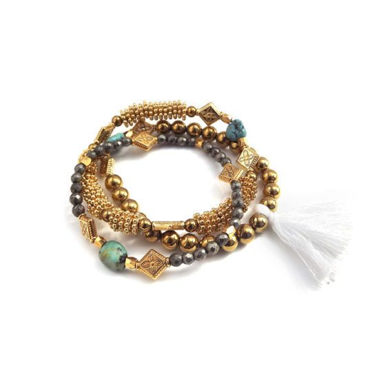 Well Dunn Well Dunn Gold Stacked Bracelet w/ Grey and Turquoise Stones