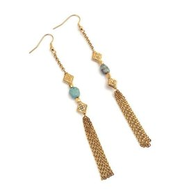 Well Dunn Well Dunn Long Gold Earrings w/ Turquoise Stones