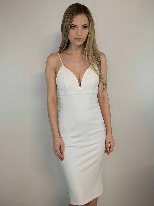 Lakefield Lakefield + Co. Ponte Ivory Deep-V Bodycon Dress