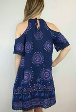Lakefield Lakefield + Co. Cold Shoulder Blue Boho Dress