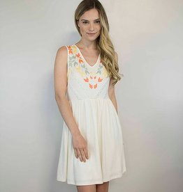 Lakefield Lakefield + Co. 'Sherri' Cream Fit + Flare w/ Tribal Embroidery