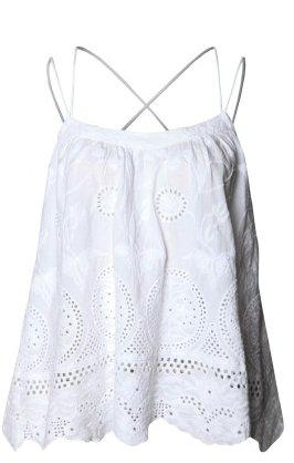 DEX Dex White Embroidered Cami w/ Criss Cross Back