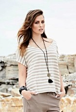 Melow by Melissa Bolduc MELOW Titus Brown/White Stripe Loose Top