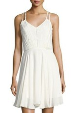DEX DEX Ivory V-Neck Fit + Flare w/ Lace Front