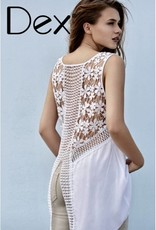 DEX DEX White Hi-Lo Crochet Back Cami