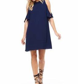 DEX DEX Navy Cold Shoulder Collar Dress