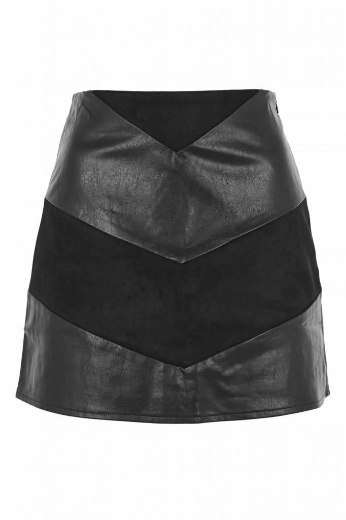 WYLDR WYLDR Black Pleather + Suede Skirt 'Low Rider'