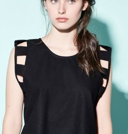 Eve Gravel Eve Gravel Sleeveless Top with Square Cutouts - BLACK