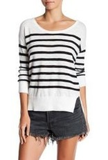 DEX DEX Ivory/Black Stripe Round Neck Knit