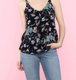 DEX DEX Black Floral Cami w/ Strap Detail