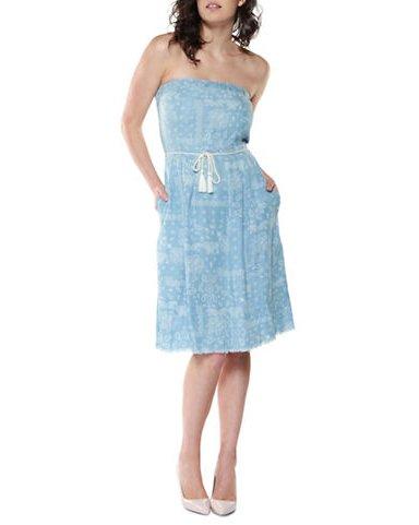 DEX Dex Blue Tencel Tube Dress w/ Belt