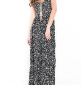 DEX DEX Black + White Abstract Print Maxi Dress