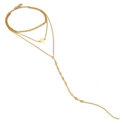 Well Dunn Well Dunn Gold Layered Necklace w/ Stone Pendant