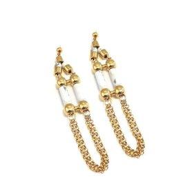 Well Dunn Well Dunn Gold Chain Earrings w/ marble pendants