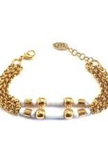 Well Dunn Well Dunn Gold Bracelet w/ marble pendants