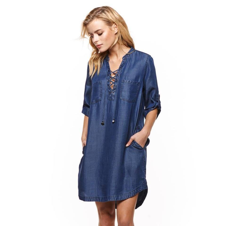 DEX Dex Blue Tencel Lace up Front Dress