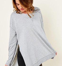 Z Supply Z Supply Heather Grey 'Weekender' Sweater w/ Side Slits