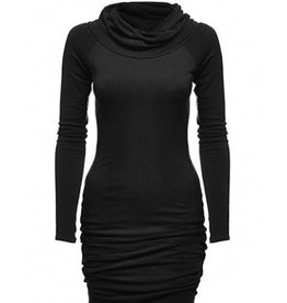 Melow by Melissa Bolduc Melow - Black Pleated Midi Dress w/ Versatile Neck