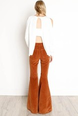 DEX DEX White Open Back Ribbed Sweater