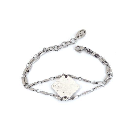 Well Dunn Well Dunn 'Pyram' - Stainless Steel Bracelet Plated Central Piece