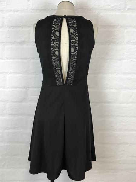 Black Swan Black Swan - Black 'Adele' Fit + Flare Dress w/ Lace Back