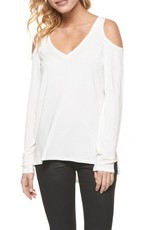 DEX DEX L/Slv Ivory Cold Shoulder Top