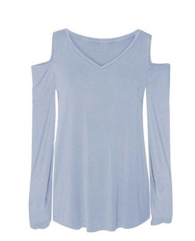 DEX DEX L/Slv Light Blue Cold Shoulder Top