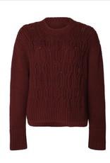 Black Tape Black Tape - Burgundy L/Slv Step Hem Cable Sweater