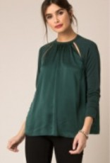 Black Swan Black Swan - Green Silk Front Top w/ Cut-Outs 'Meredith'