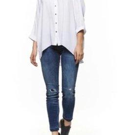 DEX Dex - White Cold Shoulder Button Blouse