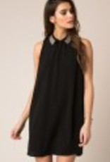 Black Swan Black Swan - Beaded Collar Black ALine Dress