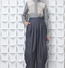 Jennifer Glasgow Jennifer Glasgow - Light Grey L/Slv High Collar 'Tala' Top
