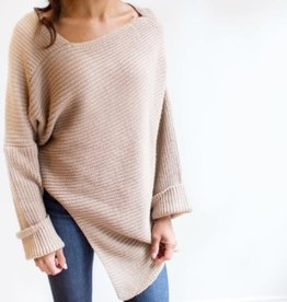Pink Martini Pink Martini - Beige Asymmetrical Off The Shoulder Sweater