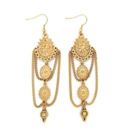 "Well Dunn Well Dunn - Long Gold Plated Earrings ""Lolita"""