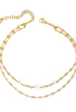 "Well Dunn Well Dunn - Gold Plated Double Layer Choker w/ Moon Stones ""Autry"""
