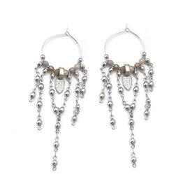 "Well Dunn Well Dunn - Silver Plated Detailed Hoop Earrings ""Poncho"""