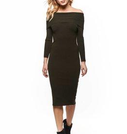 DEX Dex - Olive Off The Shoulder Midi Dress