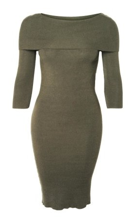 DEX Dex - Olive Off The Shoulder Midi Dress